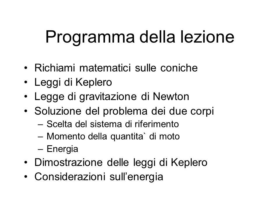 Programma della lezione Richiami matematici sulle coniche Leggi di Keplero Legge di gravitazione di Newton Soluzione del problema dei due corpi –Scelta del sistema di riferimento –Momento della quantita` di moto –Energia Dimostrazione delle leggi di Keplero Considerazioni sullenergia