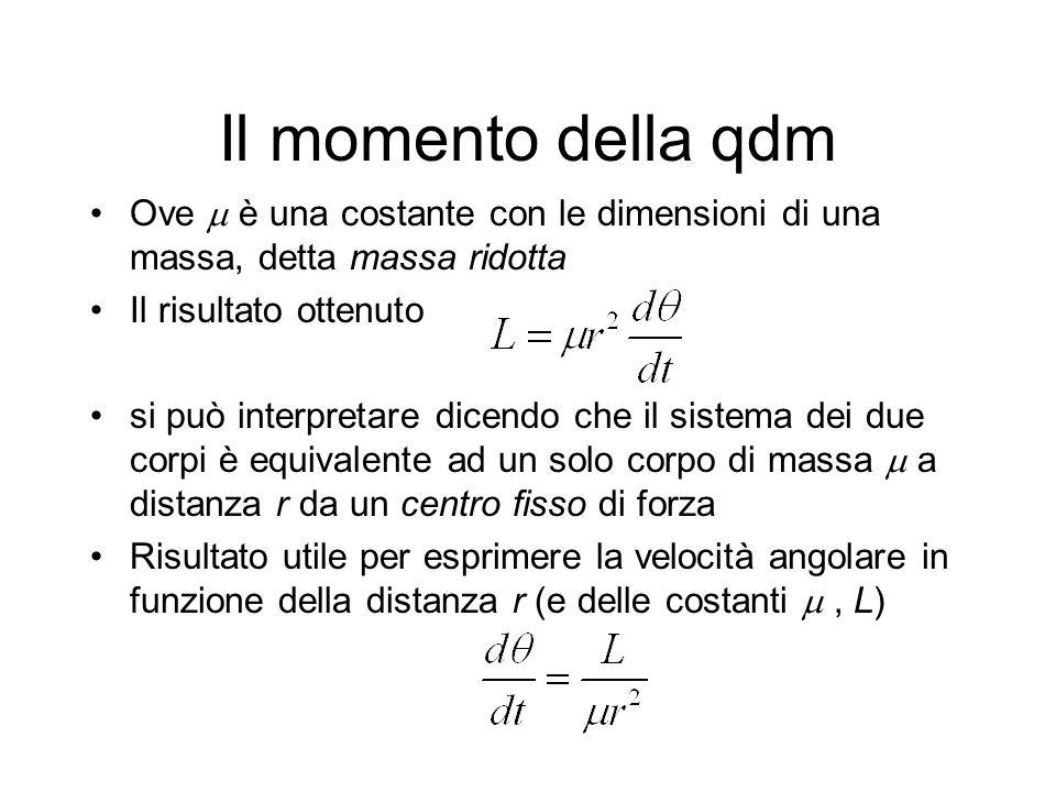 Il momento della qdm Ove è una costante con le dimensioni di una massa, detta massa ridotta Il risultato ottenuto si può interpretare dicendo che il sistema dei due corpi è equivalente ad un solo corpo di massa a distanza r da un centro fisso di forza Risultato utile per esprimere la velocità angolare in funzione della distanza r (e delle costanti, L)