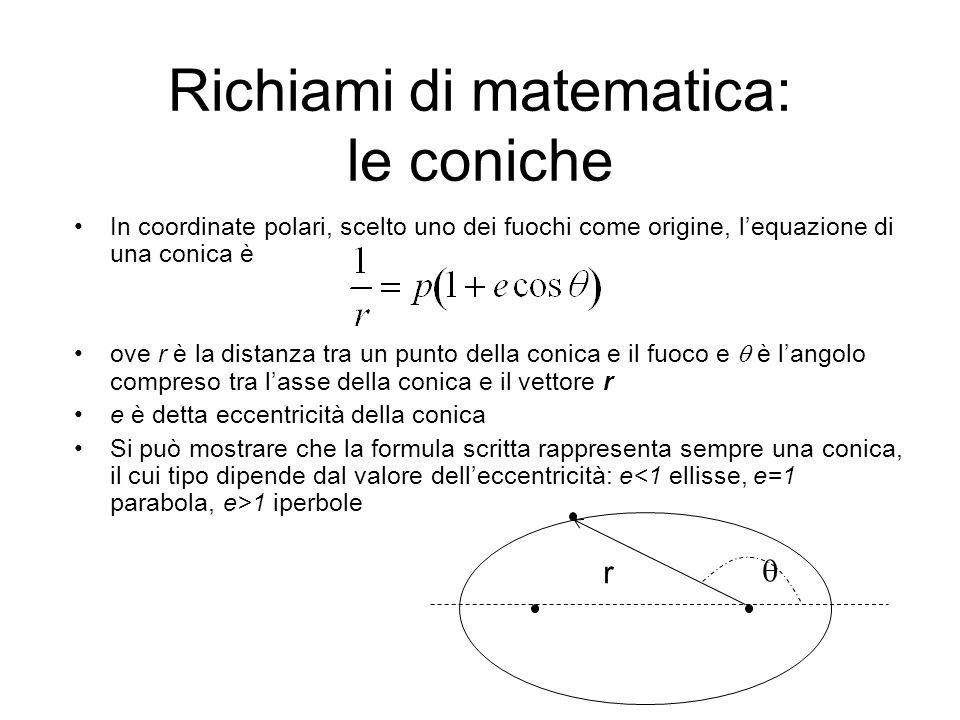 In coordinate polari, scelto uno dei fuochi come origine, lequazione di una conica è ove r è la distanza tra un punto della conica e il fuoco e è langolo compreso tra lasse della conica e il vettore r e è detta eccentricità della conica Si può mostrare che la formula scritta rappresenta sempre una conica, il cui tipo dipende dal valore delleccentricità: e 1 iperbole Richiami di matematica: le coniche r