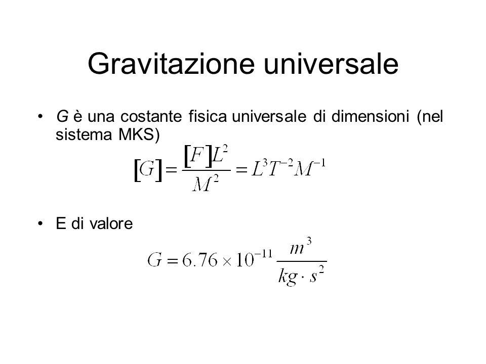 Gravitazione universale G è una costante fisica universale di dimensioni (nel sistema MKS) E di valore