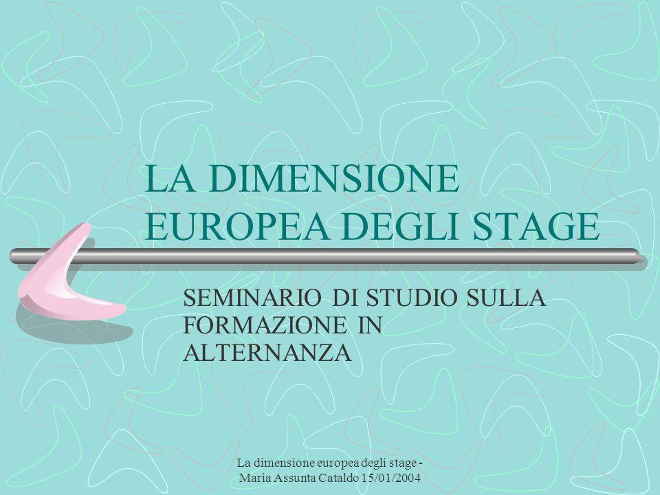 La dimensione europea degli stage - Maria Assunta Cataldo 15/01/2004 LA DIMENSIONE EUROPEA DEGLI STAGE SEMINARIO DI STUDIO SULLA FORMAZIONE IN ALTERNA