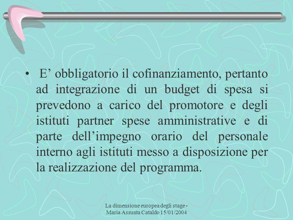 La dimensione europea degli stage - Maria Assunta Cataldo 15/01/2004 E obbligatorio il cofinanziamento, pertanto ad integrazione di un budget di spesa