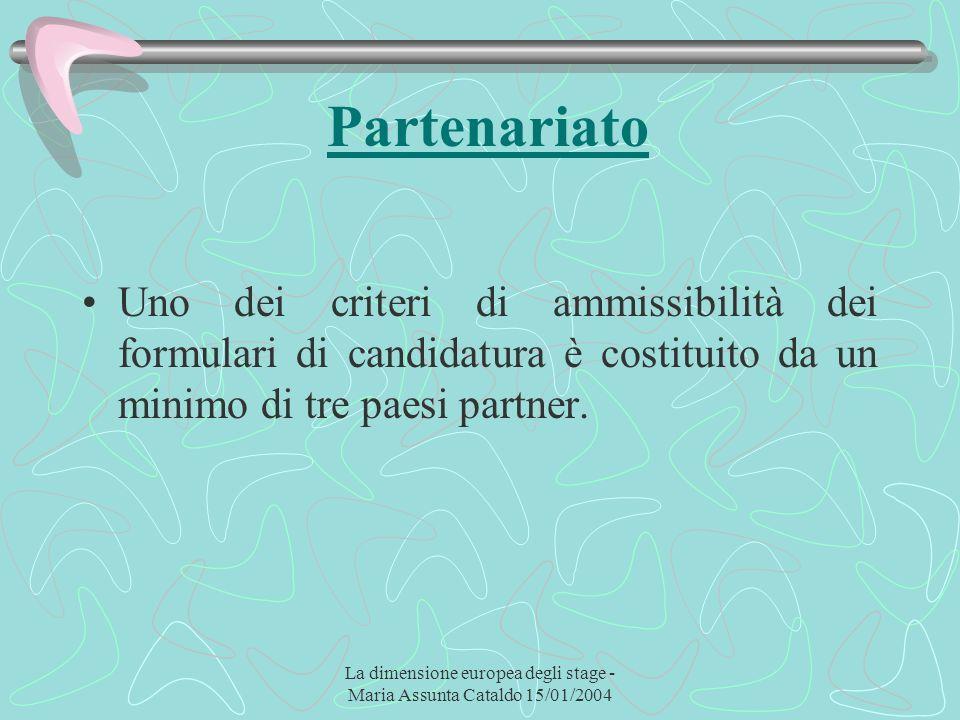 La dimensione europea degli stage - Maria Assunta Cataldo 15/01/2004 Partenariato Uno dei criteri di ammissibilità dei formulari di candidatura è cost