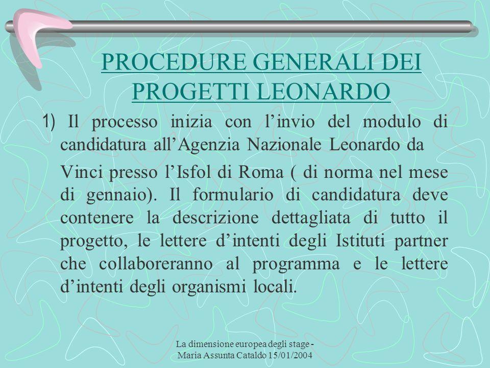 La dimensione europea degli stage - Maria Assunta Cataldo 15/01/2004 PROCEDURE GENERALI DEI PROGETTI LEONARDO 1) Il processo inizia con linvio del mod