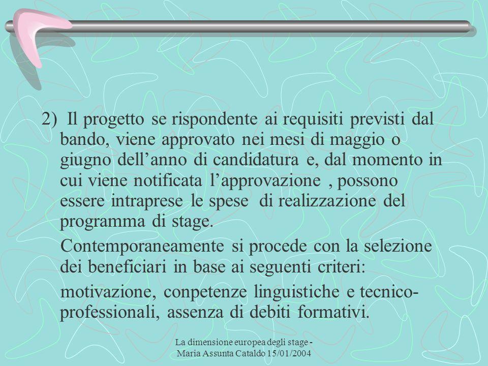 La dimensione europea degli stage - Maria Assunta Cataldo 15/01/2004 2) Il progetto se rispondente ai requisiti previsti dal bando, viene approvato ne