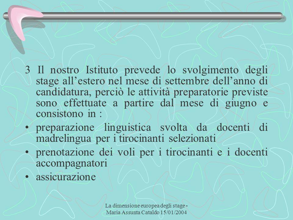 La dimensione europea degli stage - Maria Assunta Cataldo 15/01/2004 3 Il nostro Istituto prevede lo svolgimento degli stage allestero nel mese di set