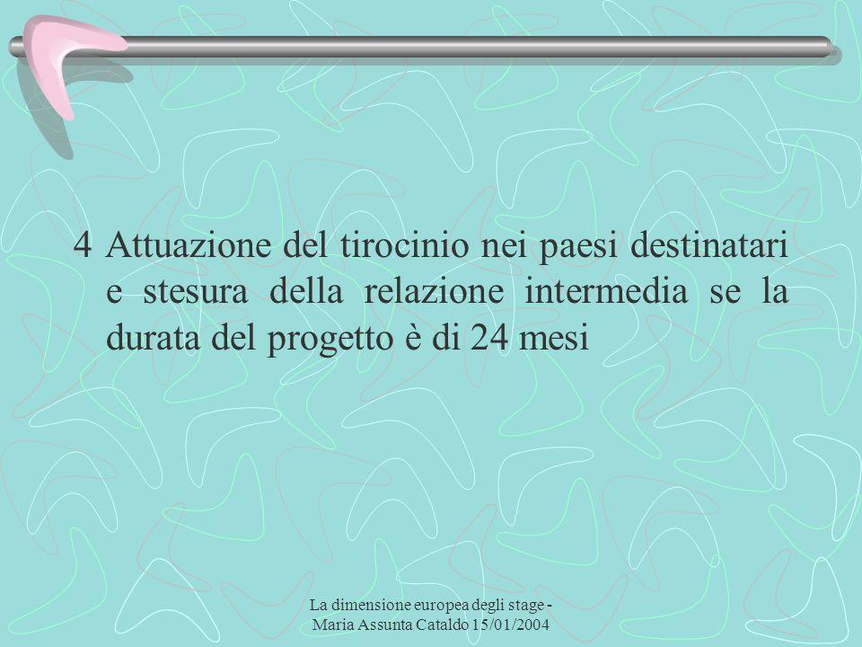 La dimensione europea degli stage - Maria Assunta Cataldo 15/01/2004 4 Attuazione del tirocinio nei paesi destinatari e stesura della relazione interm