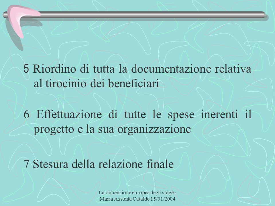 La dimensione europea degli stage - Maria Assunta Cataldo 15/01/2004 5 Riordino di tutta la documentazione relativa al tirocinio dei beneficiari 6 Eff
