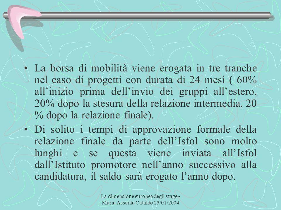 La dimensione europea degli stage - Maria Assunta Cataldo 15/01/2004 La borsa di mobilità viene erogata in tre tranche nel caso di progetti con durata