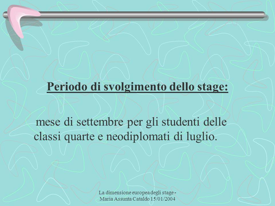La dimensione europea degli stage - Maria Assunta Cataldo 15/01/2004 Periodo di svolgimento dello stage: mese di settembre per gli studenti delle clas