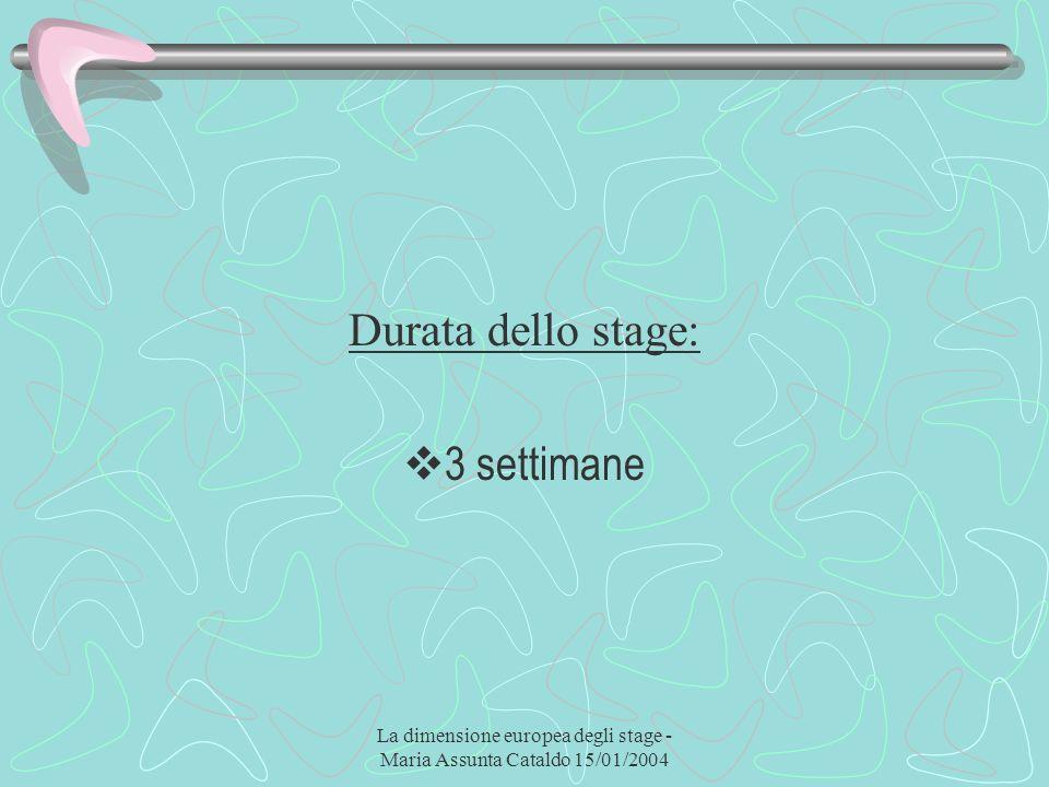 La dimensione europea degli stage - Maria Assunta Cataldo 15/01/2004 Durata dello stage: 3 settimane