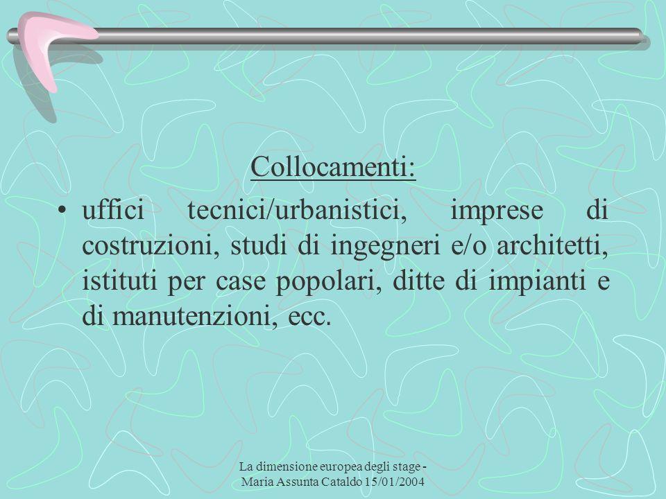La dimensione europea degli stage - Maria Assunta Cataldo 15/01/2004 Collocamenti: uffici tecnici/urbanistici, imprese di costruzioni, studi di ingegn