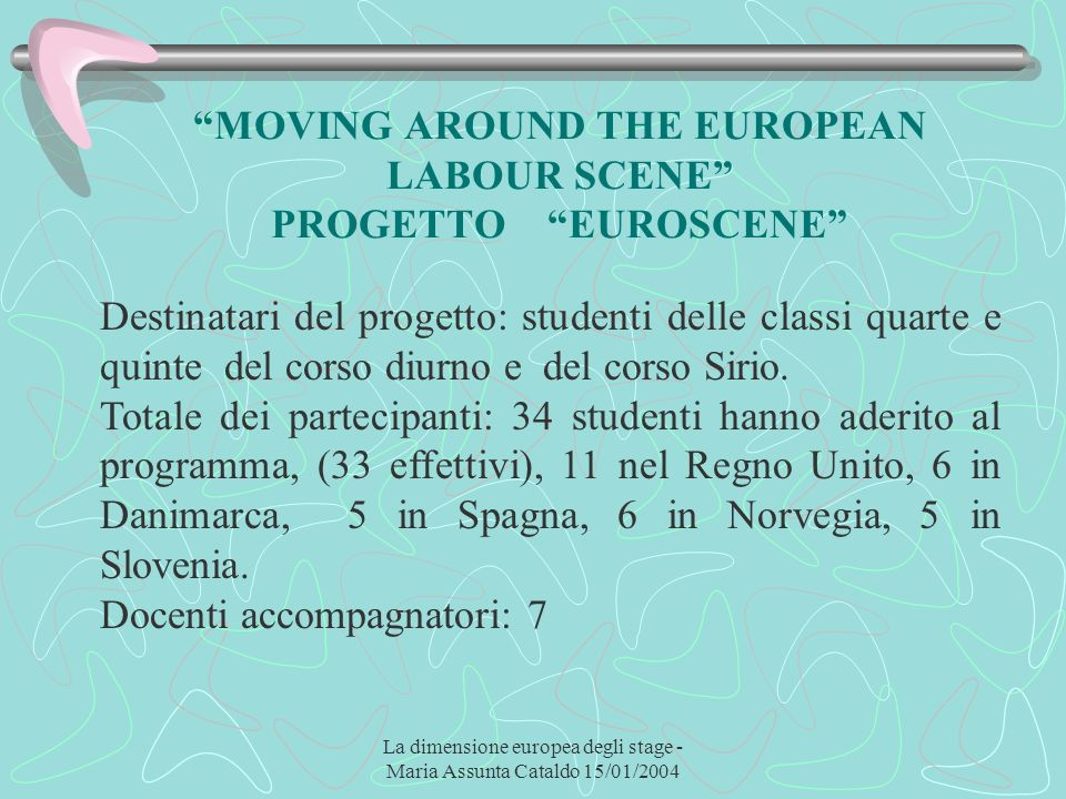 La dimensione europea degli stage - Maria Assunta Cataldo 15/01/2004 MOVING AROUND THE EUROPEAN LABOUR SCENE PROGETTO EUROSCENE Destinatari del proget