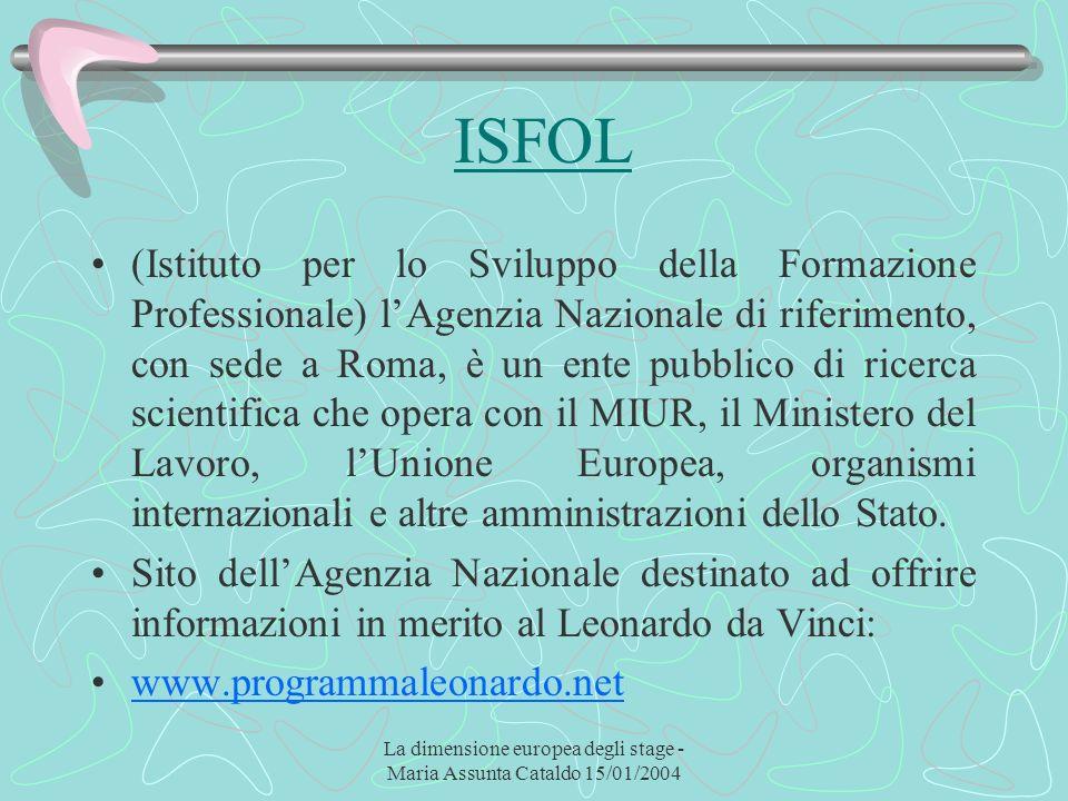 La dimensione europea degli stage - Maria Assunta Cataldo 15/01/2004 ISFOL (Istituto per lo Sviluppo della Formazione Professionale) lAgenzia Nazional