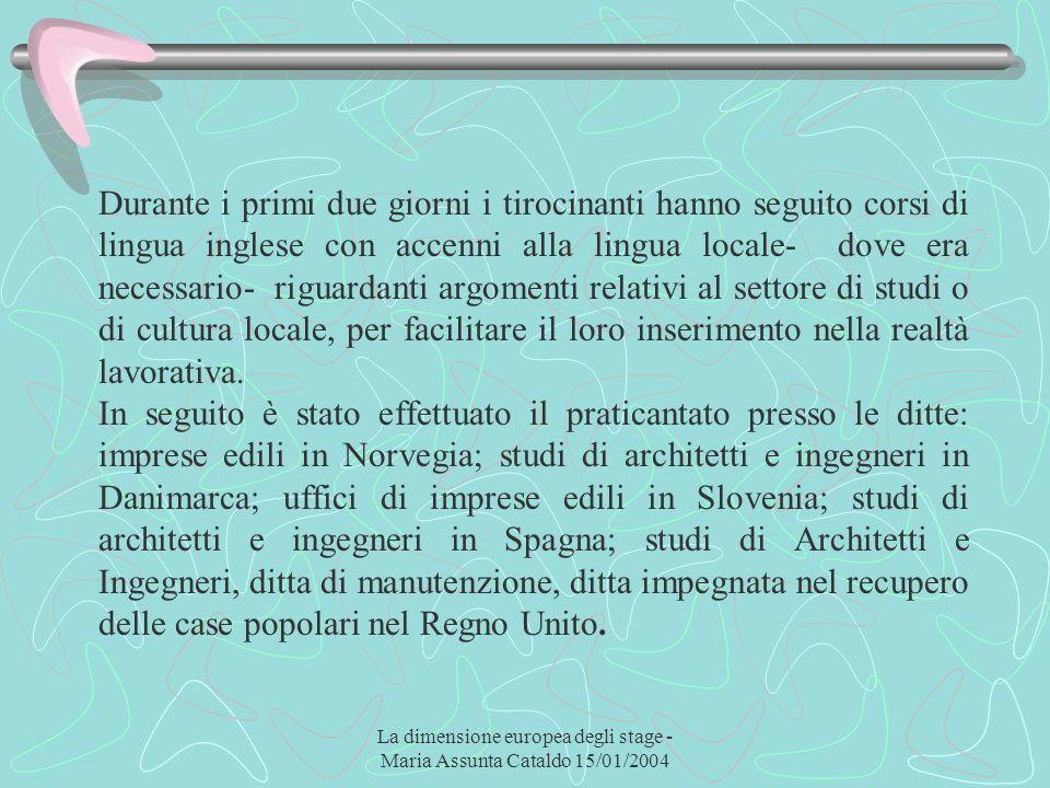 La dimensione europea degli stage - Maria Assunta Cataldo 15/01/2004 Durante i primi due giorni i tirocinanti hanno seguito corsi di lingua inglese co