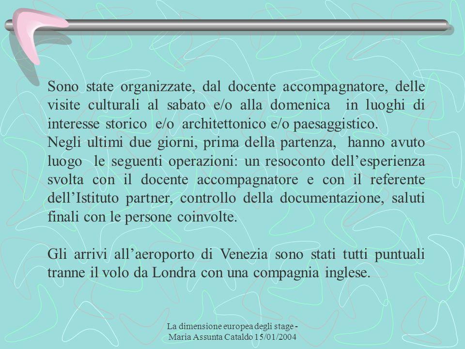 La dimensione europea degli stage - Maria Assunta Cataldo 15/01/2004 Sono state organizzate, dal docente accompagnatore, delle visite culturali al sab