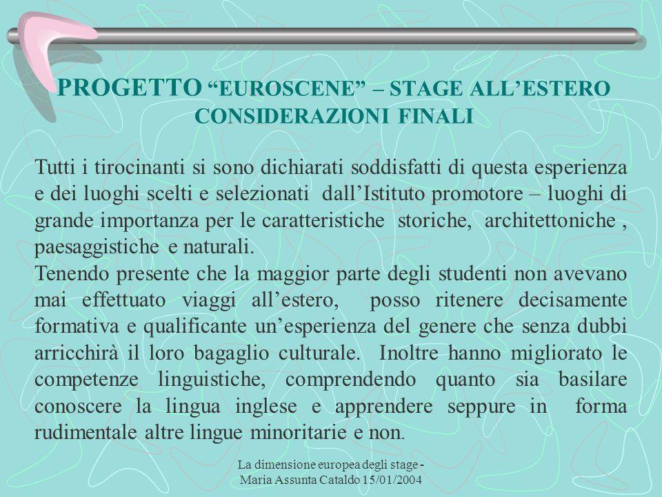 La dimensione europea degli stage - Maria Assunta Cataldo 15/01/2004 PROGETTO EUROSCENE – STAGE ALLESTERO CONSIDERAZIONI FINALI Tutti i tirocinanti si