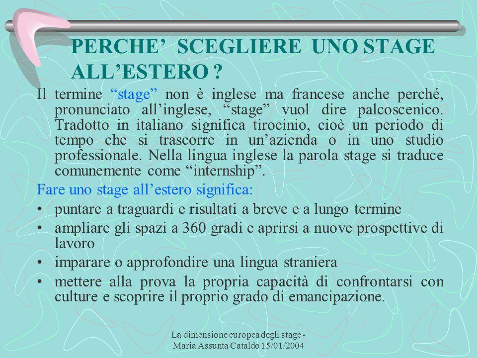 La dimensione europea degli stage - Maria Assunta Cataldo 15/01/2004 PERCHE SCEGLIERE UNO STAGE ALLESTERO ? Il termine stage non è inglese ma francese