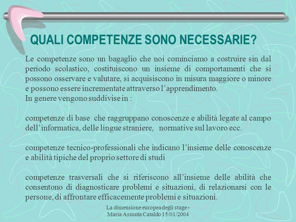 La dimensione europea degli stage - Maria Assunta Cataldo 15/01/2004 QUALI COMPETENZE SONO NECESSARIE? Le competenze sono un bagaglio che noi comincia
