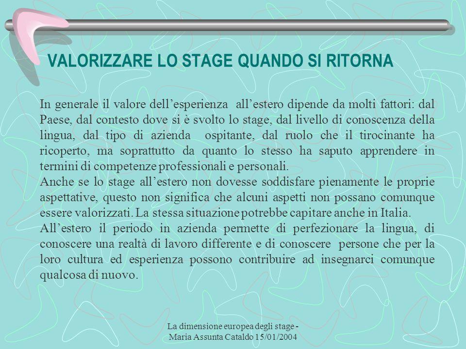 La dimensione europea degli stage - Maria Assunta Cataldo 15/01/2004 VALORIZZARE LO STAGE QUANDO SI RITORNA In generale il valore dellesperienza alles