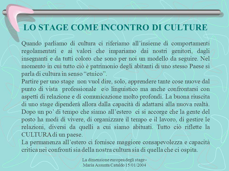 La dimensione europea degli stage - Maria Assunta Cataldo 15/01/2004 LO STAGE COME INCONTRO DI CULTURE Quando parliamo di cultura ci riferiamo allinsi