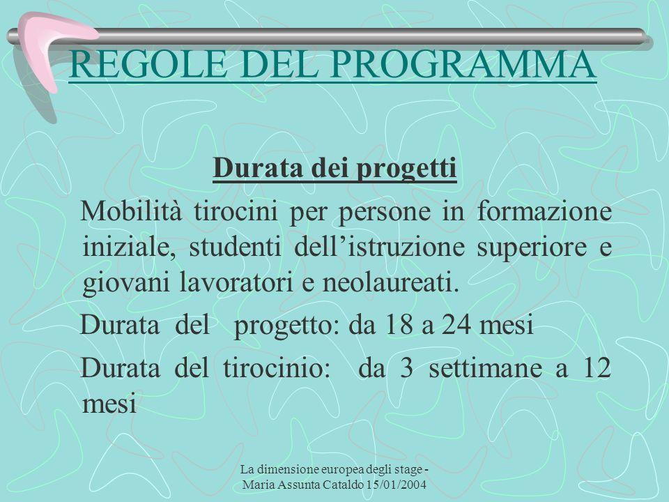 La dimensione europea degli stage - Maria Assunta Cataldo 15/01/2004 REGOLE DEL PROGRAMMA Durata dei progetti Mobilità tirocini per persone in formazi