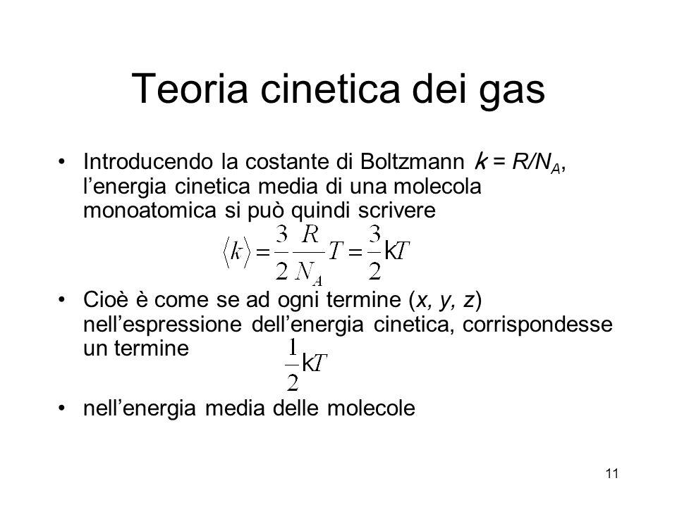 Teoria cinetica dei gas Introducendo la costante di Boltzmann k = R/N A, lenergia cinetica media di una molecola monoatomica si può quindi scrivere Ci
