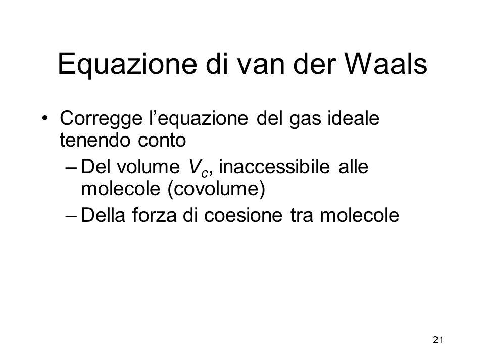 Equazione di van der Waals Corregge lequazione del gas ideale tenendo conto –Del volume V c, inaccessibile alle molecole (covolume) –Della forza di co