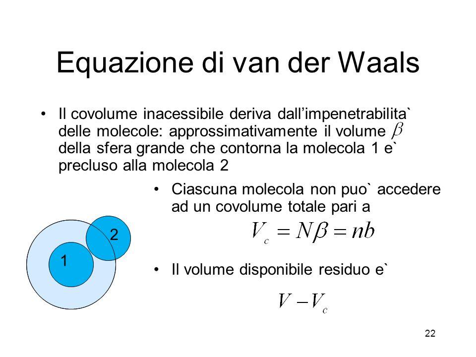 Equazione di van der Waals Il covolume inacessibile deriva dallimpenetrabilita` delle molecole: approssimativamente il volume della sfera grande che c