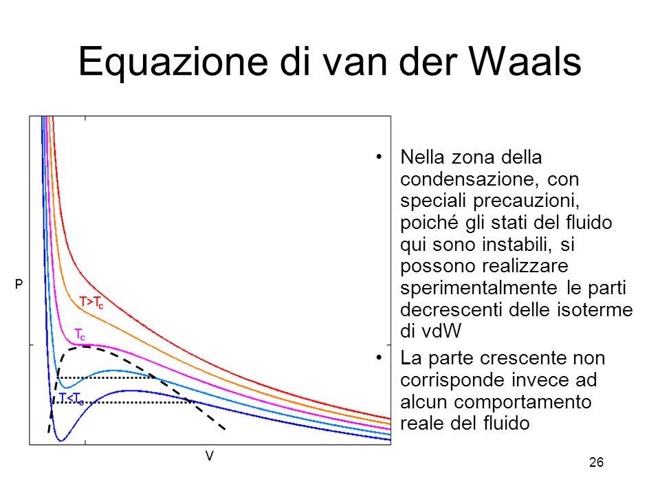 Equazione di van der Waals Nella zona della condensazione, con speciali precauzioni, poiché gli stati del fluido qui sono instabili, si possono realiz