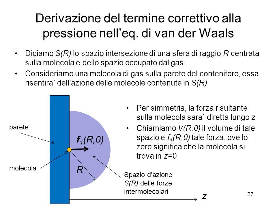 Derivazione del termine correttivo alla pressione nelleq. di van der Waals Diciamo S(R) lo spazio intersezione di una sfera di raggio R centrata sulla