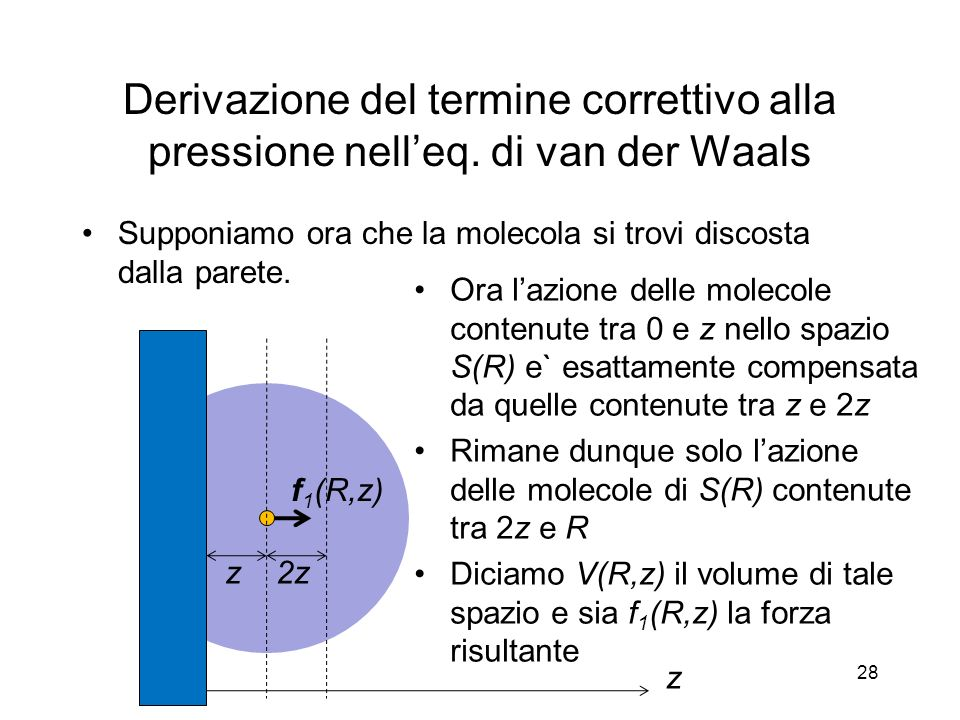 Derivazione del termine correttivo alla pressione nelleq. di van der Waals Supponiamo ora che la molecola si trovi discosta dalla parete. Ora lazione