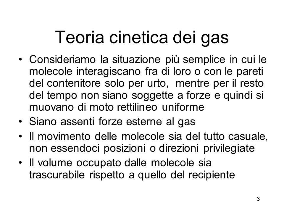 Teoria cinetica dei gas Consideriamo la situazione più semplice in cui le molecole interagiscano fra di loro o con le pareti del contenitore solo per