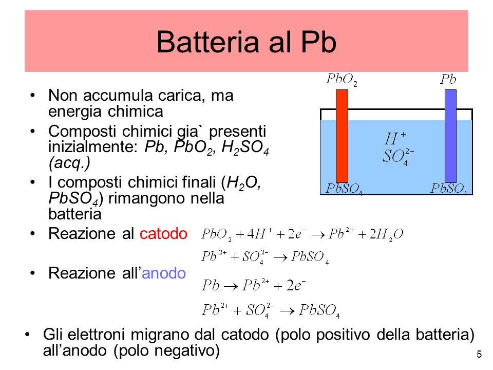 Cella a H 2 Non accumula carica, ma energia chimica I composti chimici non rimangono nella cella, come nella batteria I composti iniziali (O 2 e H 2 ) vengono immessi dallesterno, quelli finali (H 2 O) vengono espulsi allesterno Reazione al catodo Reazione all anodo 6 Gli elettroni migrano dal catodo (polo positivo della batteria) allanodo (polo negativo)
