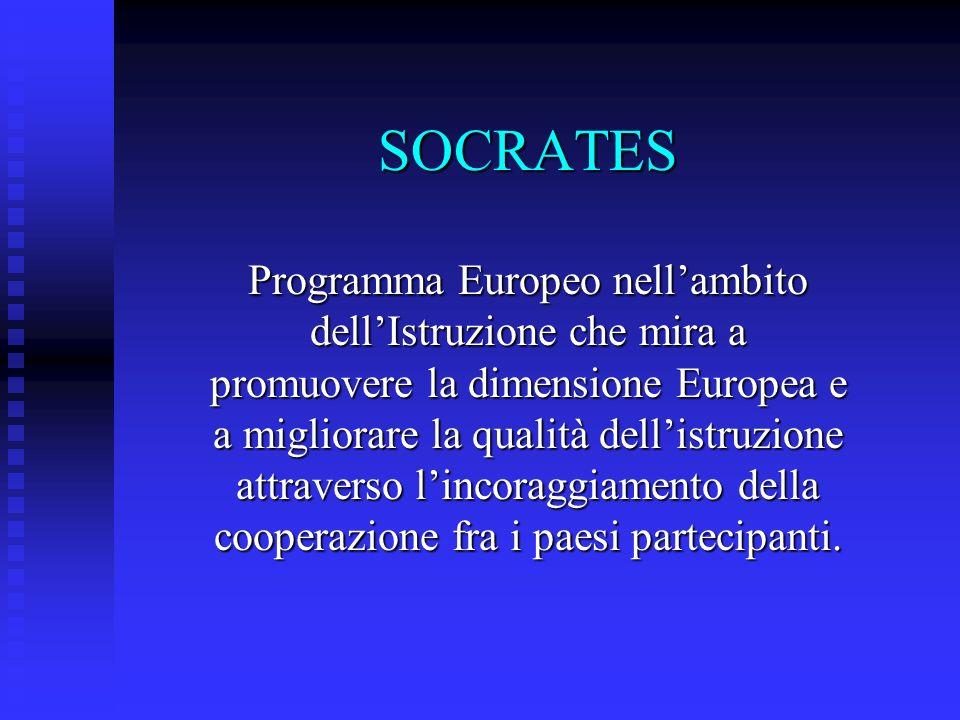SOCRATES Programma Europeo nellambito dellIstruzione che mira a promuovere la dimensione Europea e a migliorare la qualità dellistruzione attraverso lincoraggiamento della cooperazione fra i paesi partecipanti.