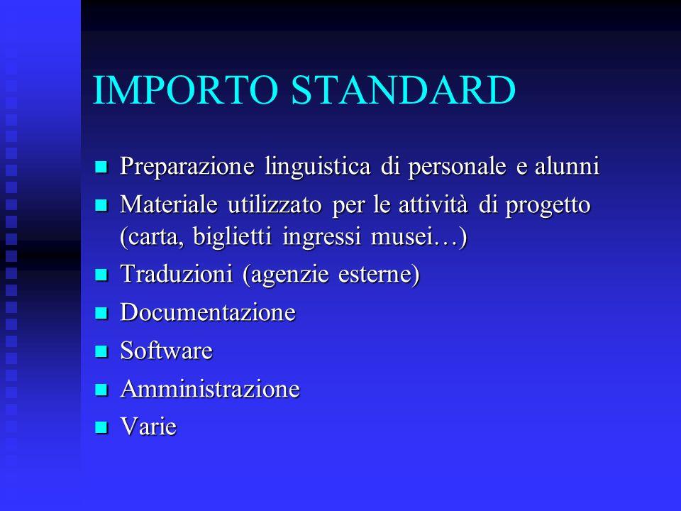 IMPORTO STANDARD Preparazione linguistica di personale e alunni Preparazione linguistica di personale e alunni Materiale utilizzato per le attività di