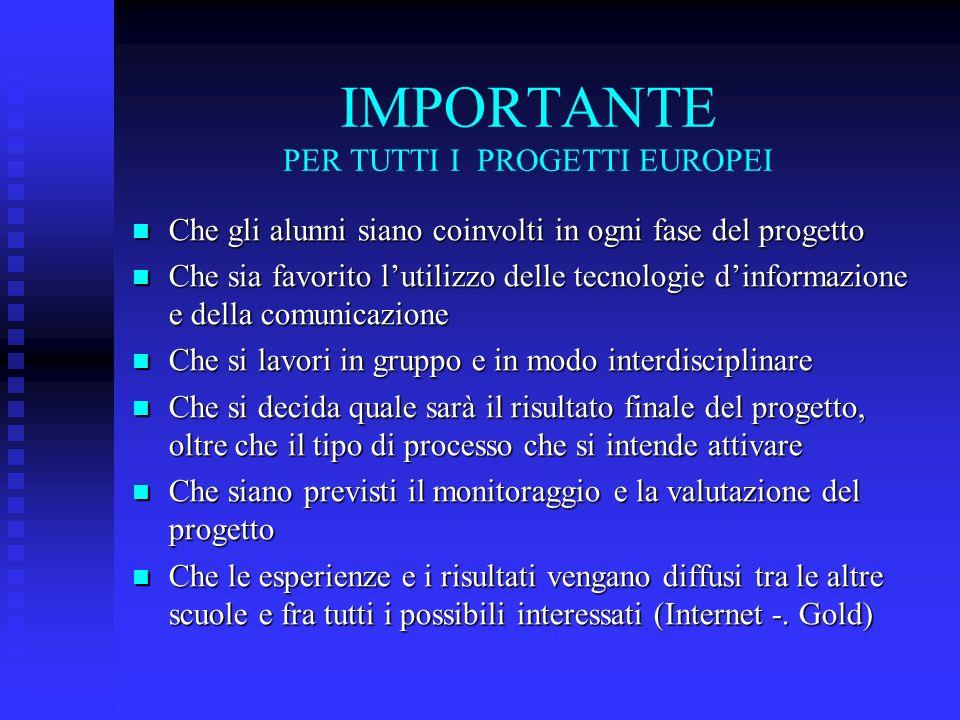 IMPORTANTE PER TUTTI I PROGETTI EUROPEI Che gli alunni siano coinvolti in ogni fase del progetto Che gli alunni siano coinvolti in ogni fase del proge
