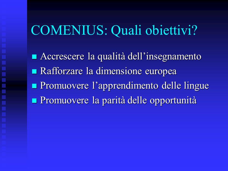 COMENIUS: Quali obiettivi? Accrescere la qualità dellinsegnamento Accrescere la qualità dellinsegnamento Rafforzare la dimensione europea Rafforzare l