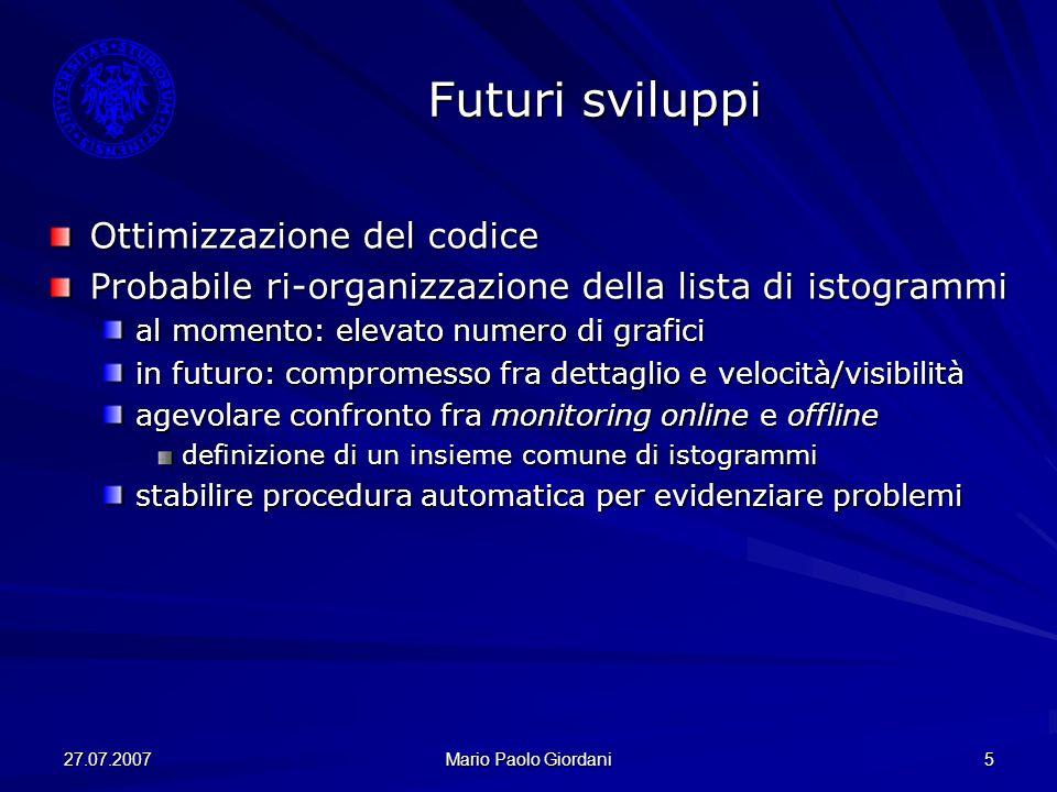 27.07.2007 Mario Paolo Giordani 5 Futuri sviluppi Ottimizzazione del codice Probabile ri-organizzazione della lista di istogrammi al momento: elevato
