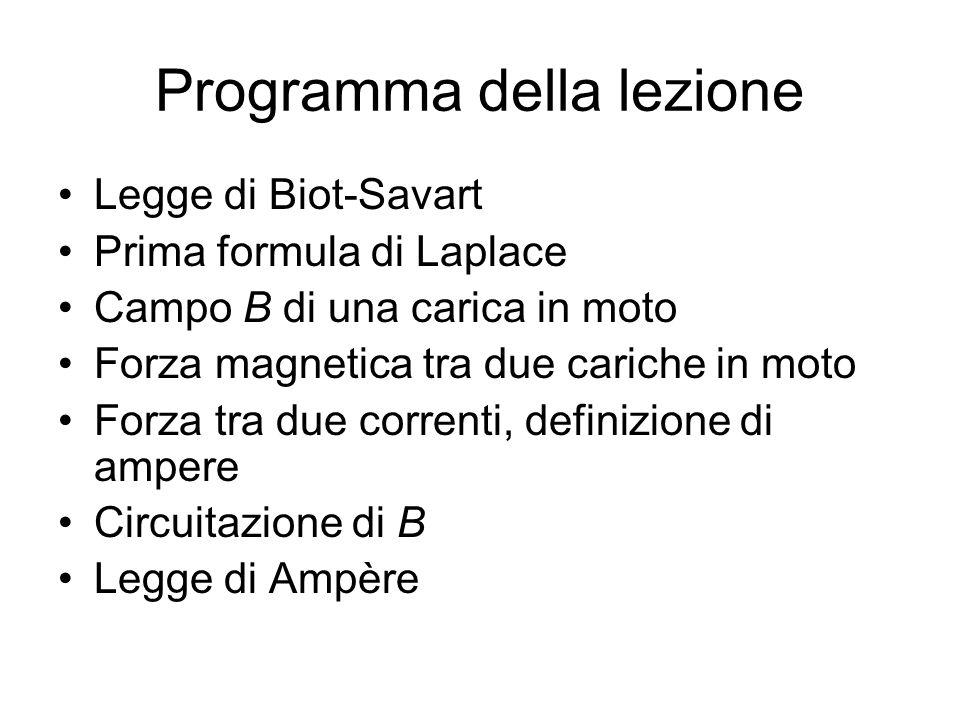 Programma della lezione Legge di Biot-Savart Prima formula di Laplace Campo B di una carica in moto Forza magnetica tra due cariche in moto Forza tra due correnti, definizione di ampere Circuitazione di B Legge di Ampère