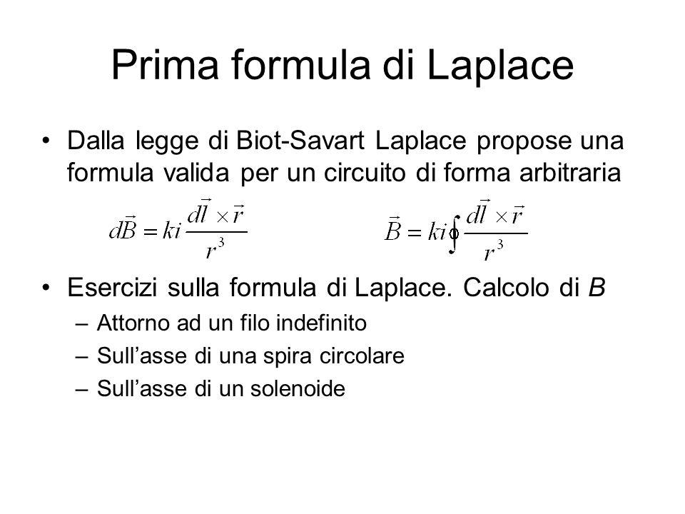 Prima formula di Laplace Dalla legge di Biot-Savart Laplace propose una formula valida per un circuito di forma arbitraria Esercizi sulla formula di Laplace.
