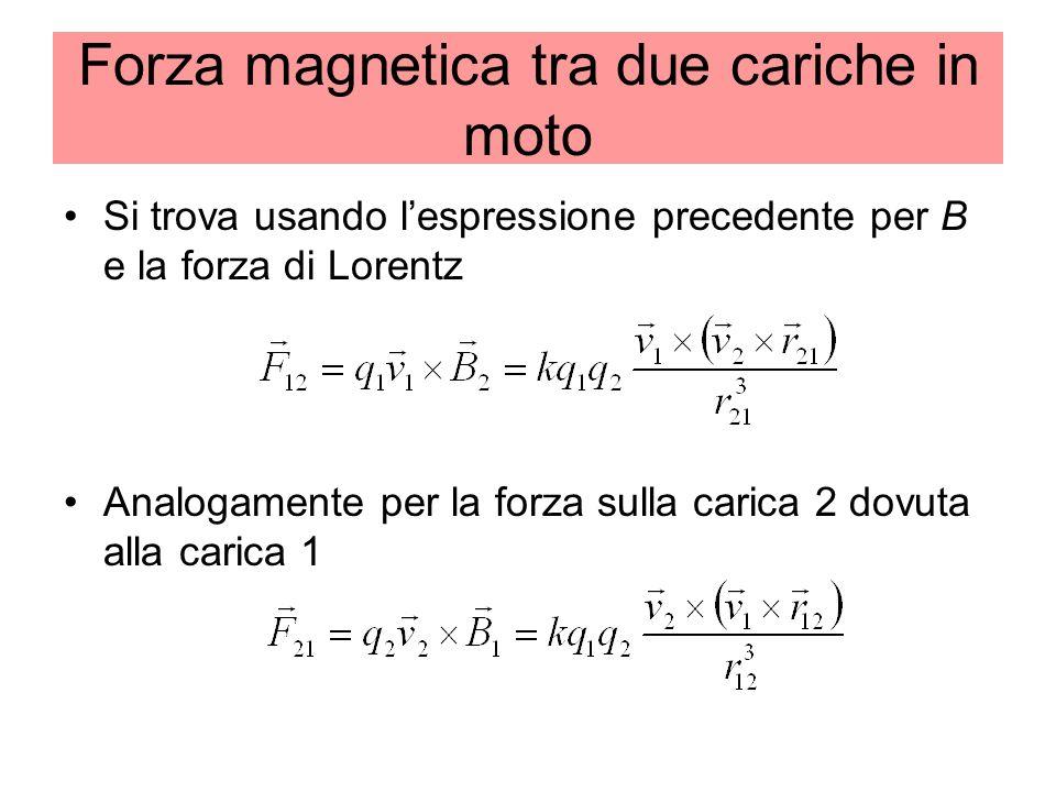 Forza magnetica tra due cariche in moto Si trova usando lespressione precedente per B e la forza di Lorentz Analogamente per la forza sulla carica 2 dovuta alla carica 1