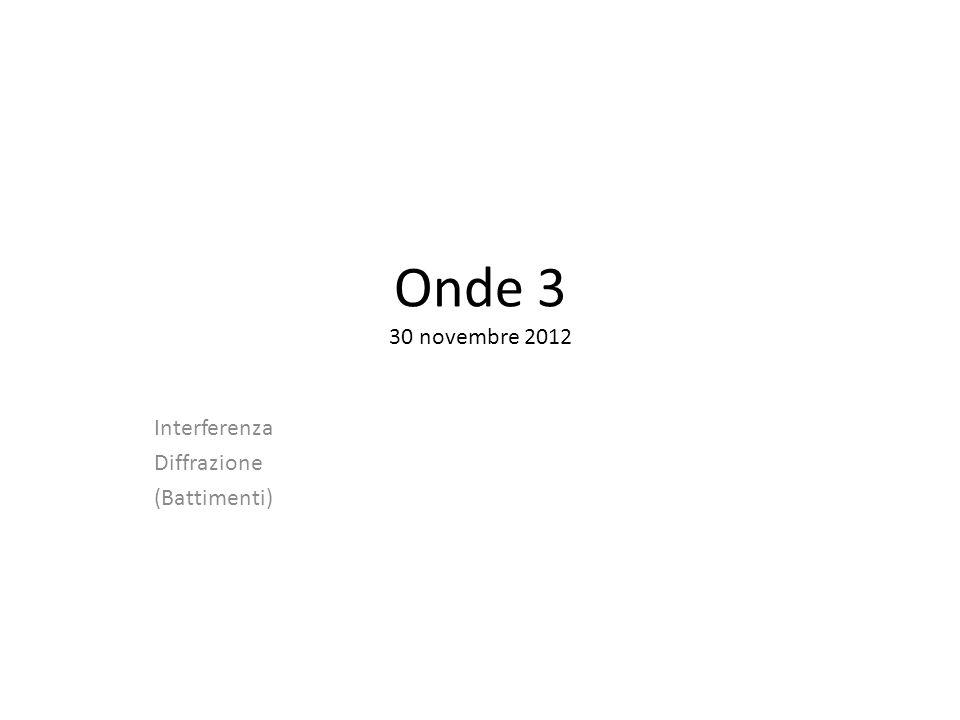 Onde 3 30 novembre 2012 Interferenza Diffrazione (Battimenti)