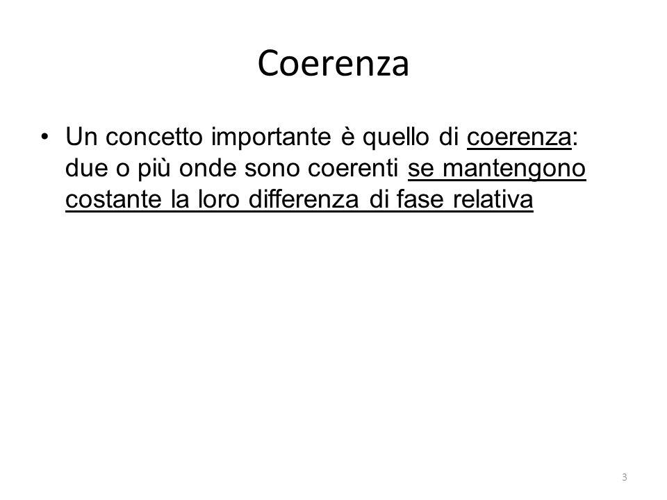 Coerenza Un concetto importante è quello di coerenza: due o più onde sono coerenti se mantengono costante la loro differenza di fase relativa 3