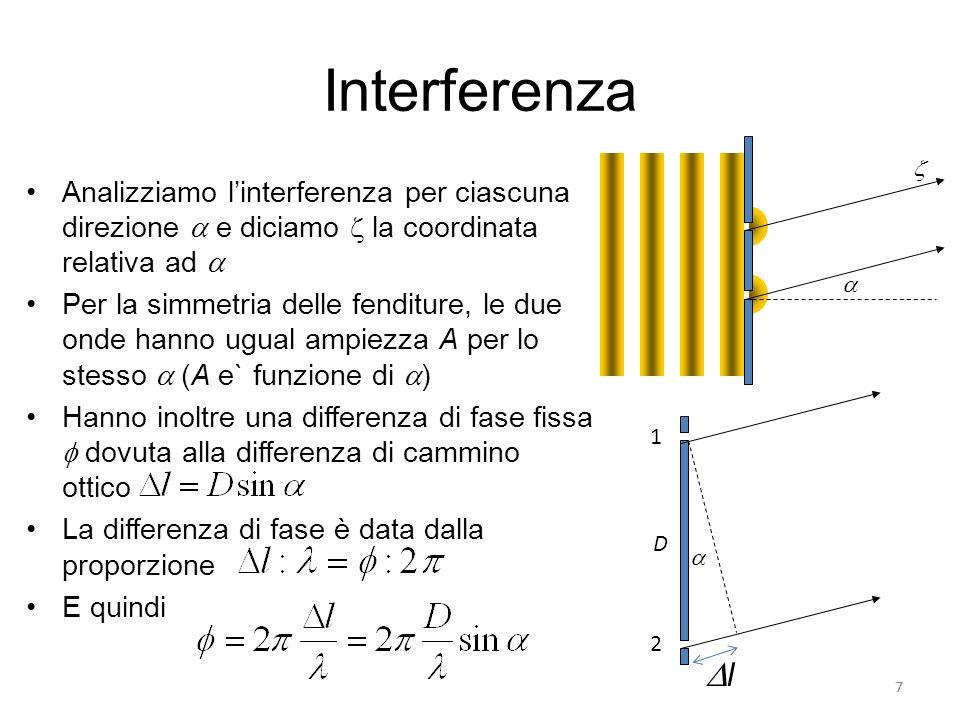 Interferenza Le due onde hanno dunque forma La funzione che ne rappresenta la sovrapposizione è la loro somma Applicando le formule di Werner, otteniamo Lespressione in parentesi quadre è lampiezza dellonda risultante 8