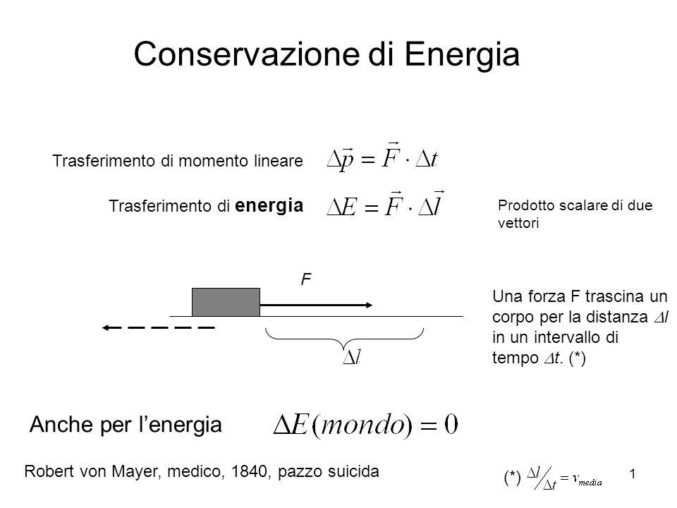 1 Trasferimento di momento lineare Anche per lenergia Trasferimento di energia F Una forza F trascina un corpo per la distanza l in un intervallo di t