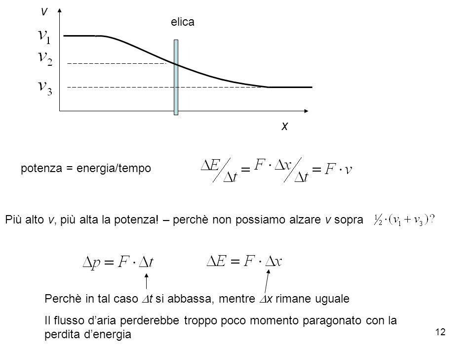 12 elica x v potenza = energia/tempo Più alto v, più alta la potenza! – perchè non possiamo alzare v sopra Perchè in tal caso t si abbassa, mentre x r