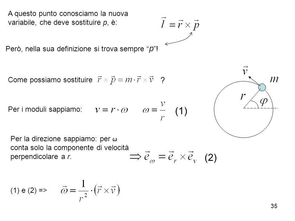 35 A questo punto conosciamo la nuova variabile, che deve sostituire p, è: Però, nella sua definizione si trova sempre p ! Come possiamo sostituire Pe