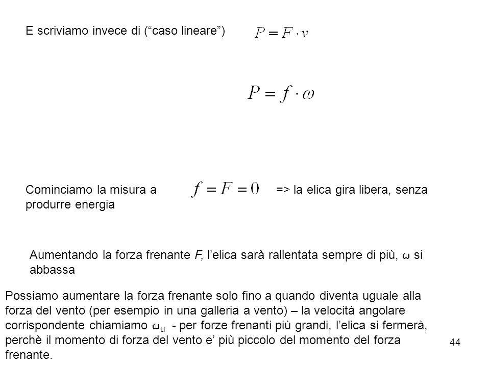 44 E scriviamo invece di (caso lineare) Cominciamo la misura a => la elica gira libera, senza produrre energia Aumentando la forza frenante F, lelica