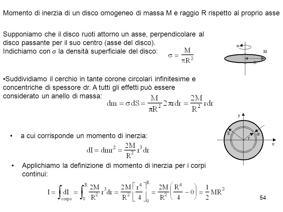 54 a cui corrisponde un momento di inerzia: Applichiamo la definizione di momento di inerzia per i corpi continui: Momento di inerzia di un disco omog